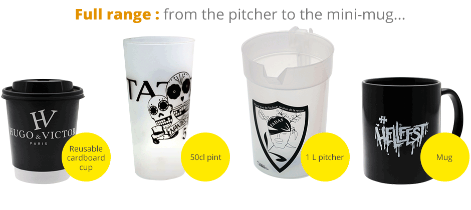 Full range : from the reusable pitcher to the customized mini-mug
