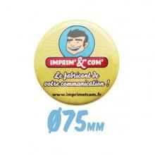 Badge bouton Ø 75mm épingle