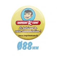 Badge bouton Ø 88mm épingle